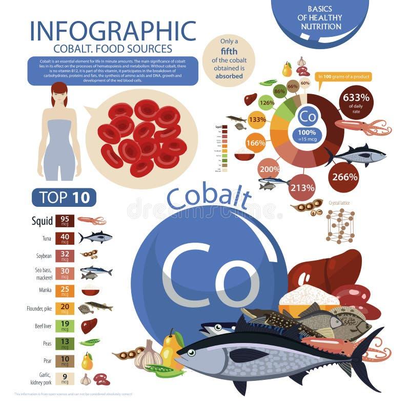 Infographics kobalt zawartość w naturalnych żywność organiczna produktach ilustracja wektor