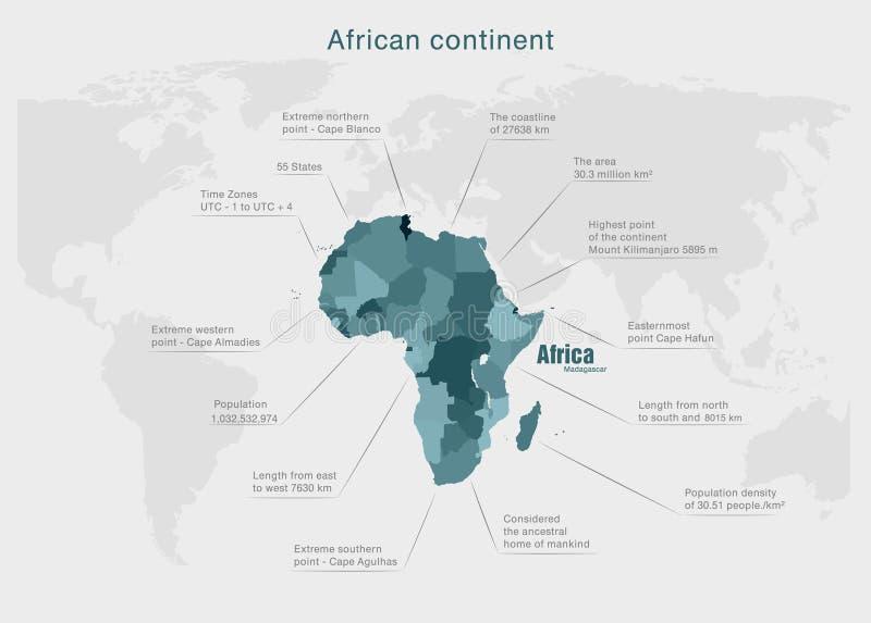 Infographics-Kontinent Afrika-Grün und -GRAU lizenzfreie abbildung
