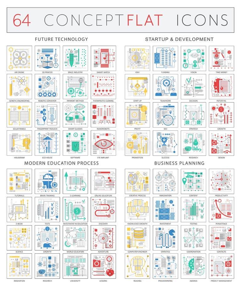 Infographics-Konzeptikonen der zukünftigen Technologie, Startentwicklung, moderner Bildungsprozeß, Geschäftsfinanzierung lizenzfreie abbildung