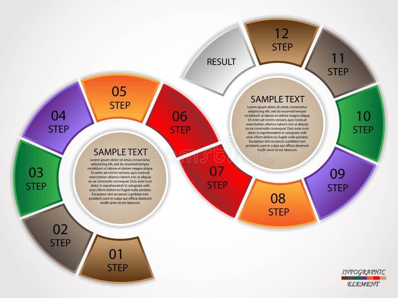 Infographics-Kreisschritte lizenzfreie abbildung