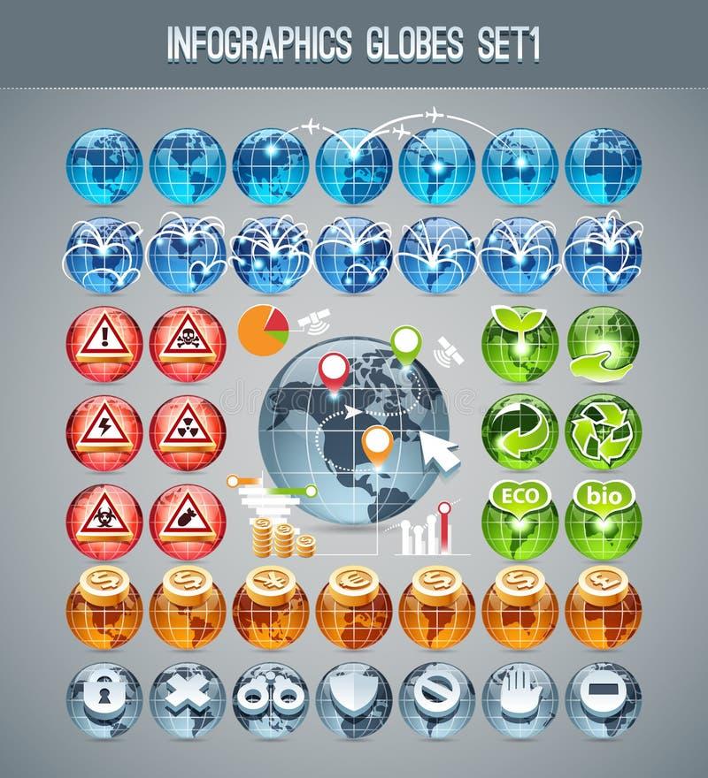 Infographics-Kugeln Set1 lizenzfreie abbildung