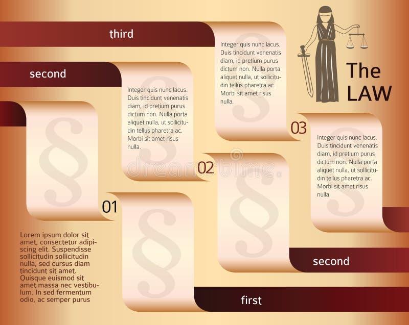 Infographics-lay-out-wettelijk-wet-advocaat-Themis vector illustratie