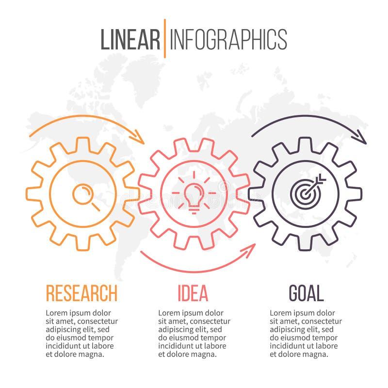 Infographics linear con los engranajes Pasos del diagrama 3 del negocio ilustración del vector
