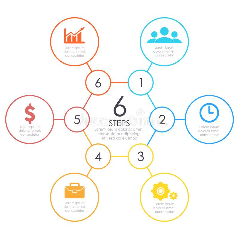Infographics lineare Descriva intorno al grafico, grafico con 6 punti, opzioni Elemento di disegno di vettore royalty illustrazione gratis