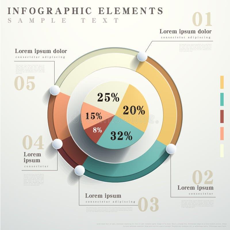 Infographics liso da carta de torta do sumário do estilo ilustração royalty free