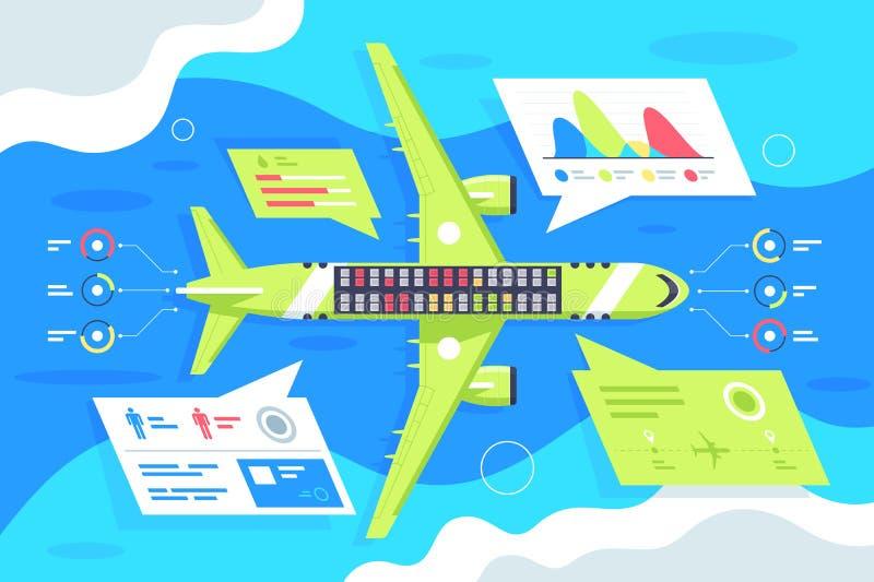 Infographics liso do avião com passageiro e estatística plana ilustração stock
