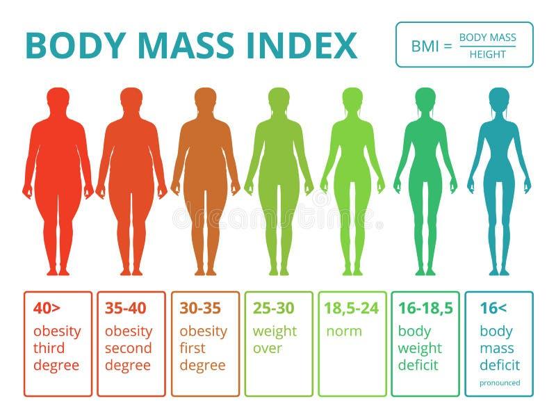 Infographics médico con los ejemplos del índice de masa corporal femenino ilustración del vector