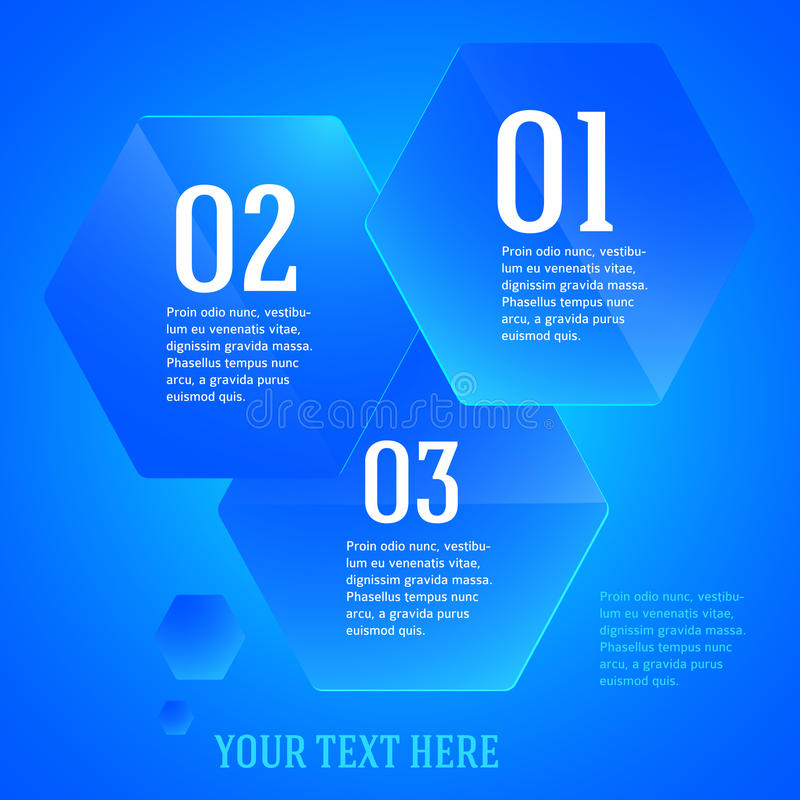 Infographics-mall-orientering-presentation-blått-sexhörning vektor illustrationer