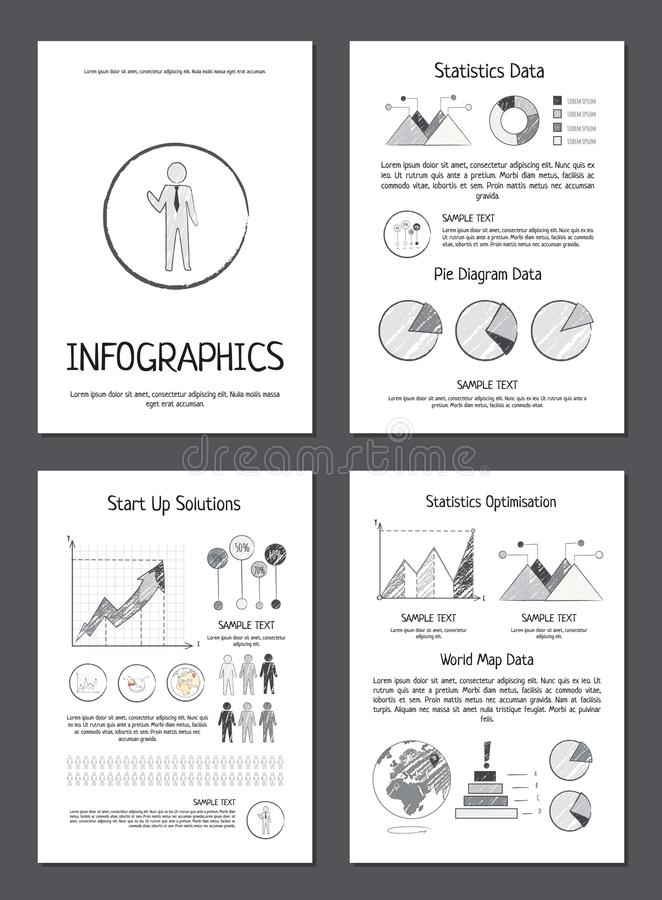 Infographics med olika data på pappers- ark royaltyfri illustrationer