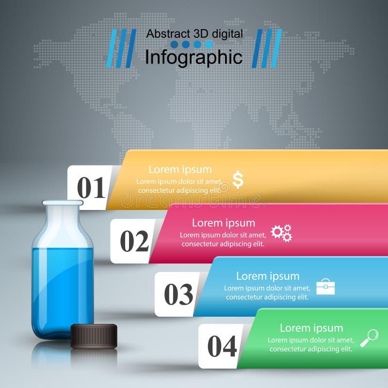 Infographics medico Bottiglia con una prescrizione Illustrazione di vettore di stile di origami di Infographics di affari illustrazione di stock