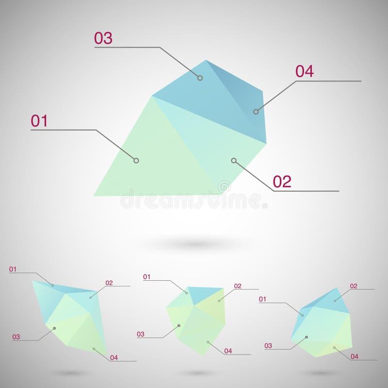 Infographics met veelhoekige geometrische vormen wordt geplaatst die stock illustratie