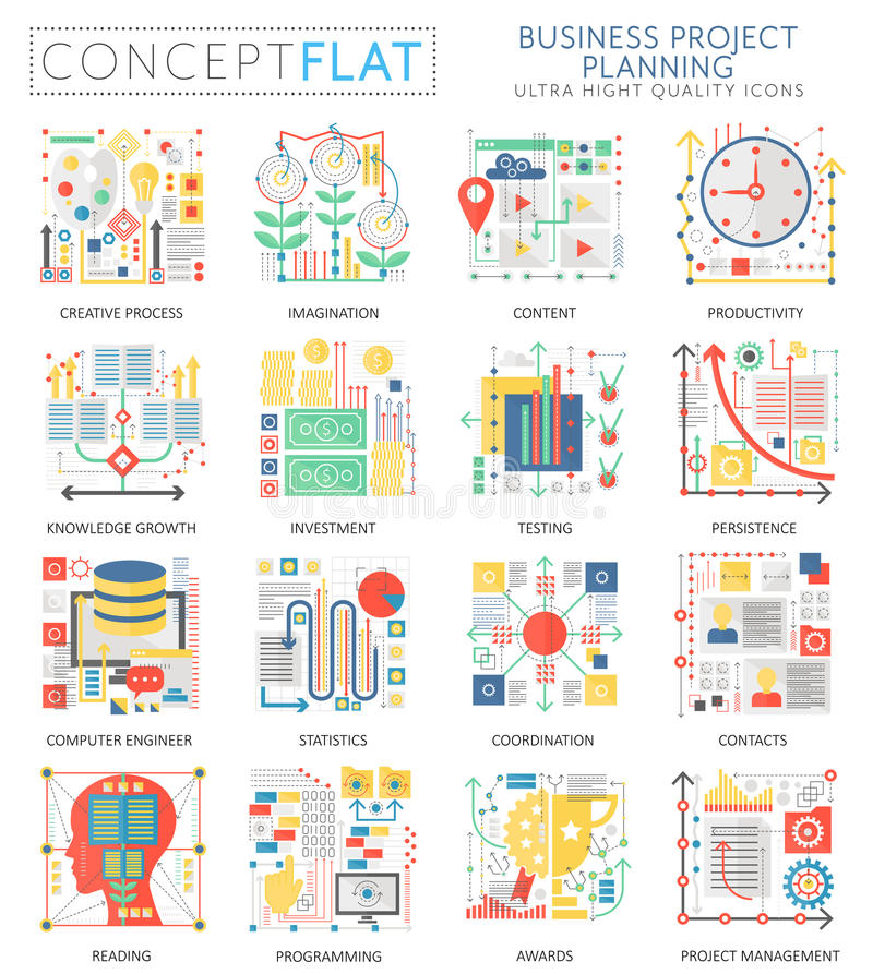 Infographics mini concept business finance planning icons and digital marketing for web. Premium quality color vector illustration