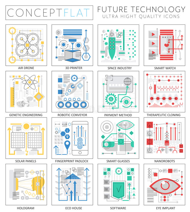 Infographics mini concept Future technology icons for web. royalty free illustration