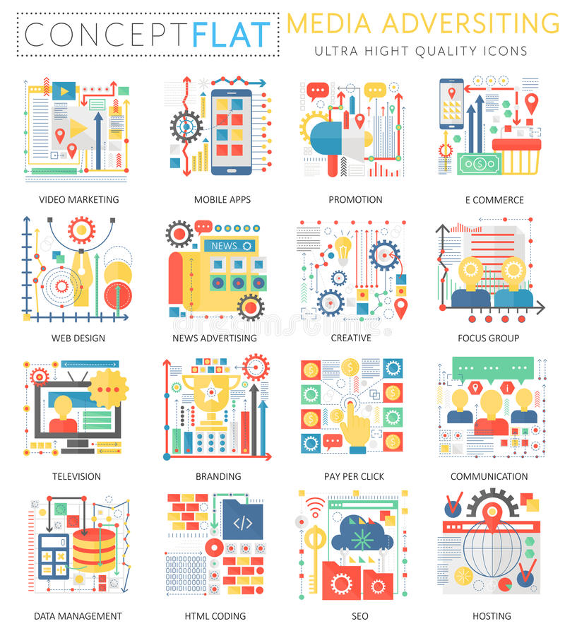 Infographics mini concept Media advertising icons and digital marketing for web. Premium quality color conceptual flat vector illustration
