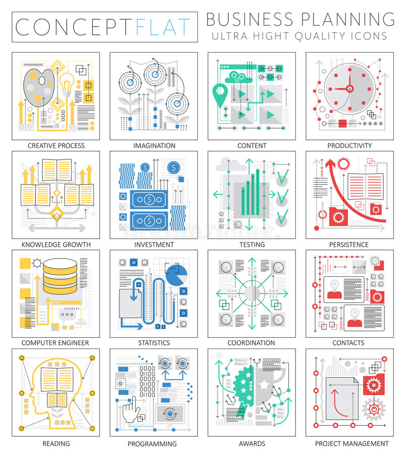 Infographics mini concept Project business finance planning icons for web. stock illustration