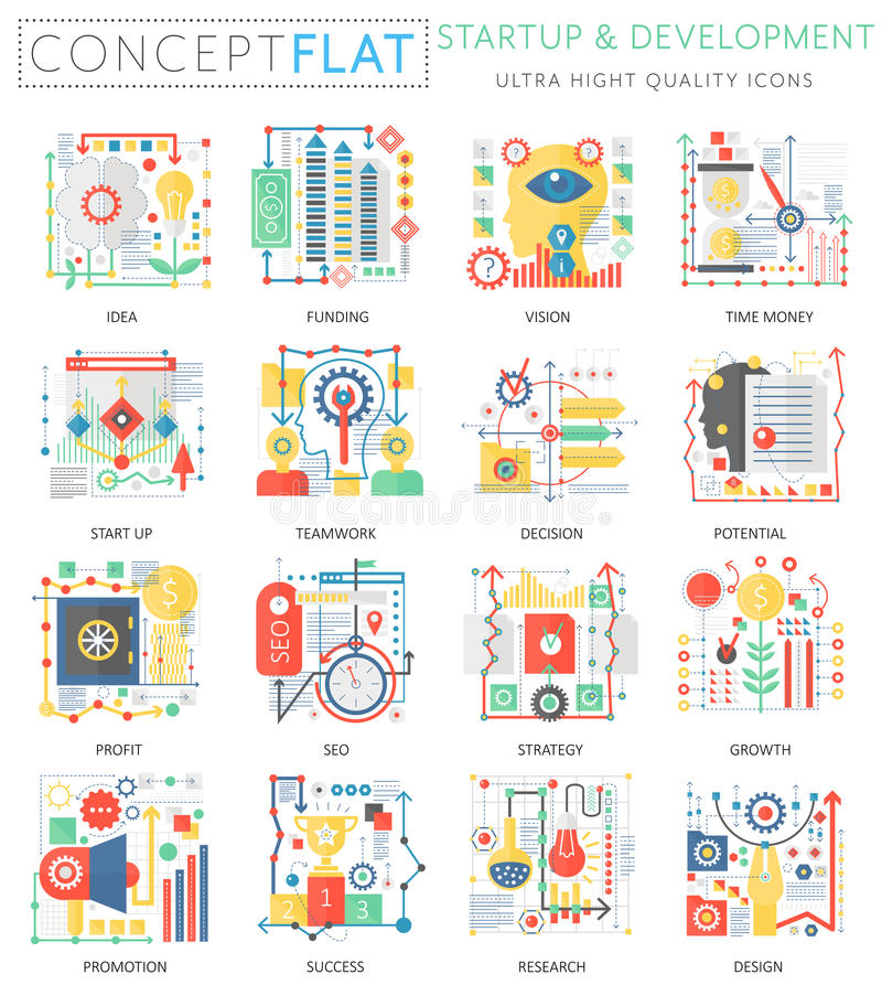 Infographics mini concept startup and development, computer protection icons for web. Premium quality color conceptual vector illustration