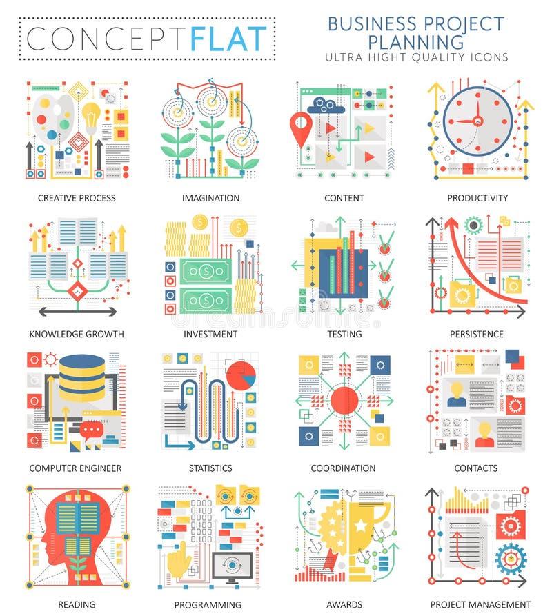 Infographics mini pojęcia finansowego planowania biznesowe ikony i cyfrowy marketing dla sieci Premii ilości kolor ilustracja wektor