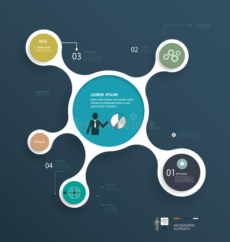 Infographics minimal conception de molécule illustration libre de droits