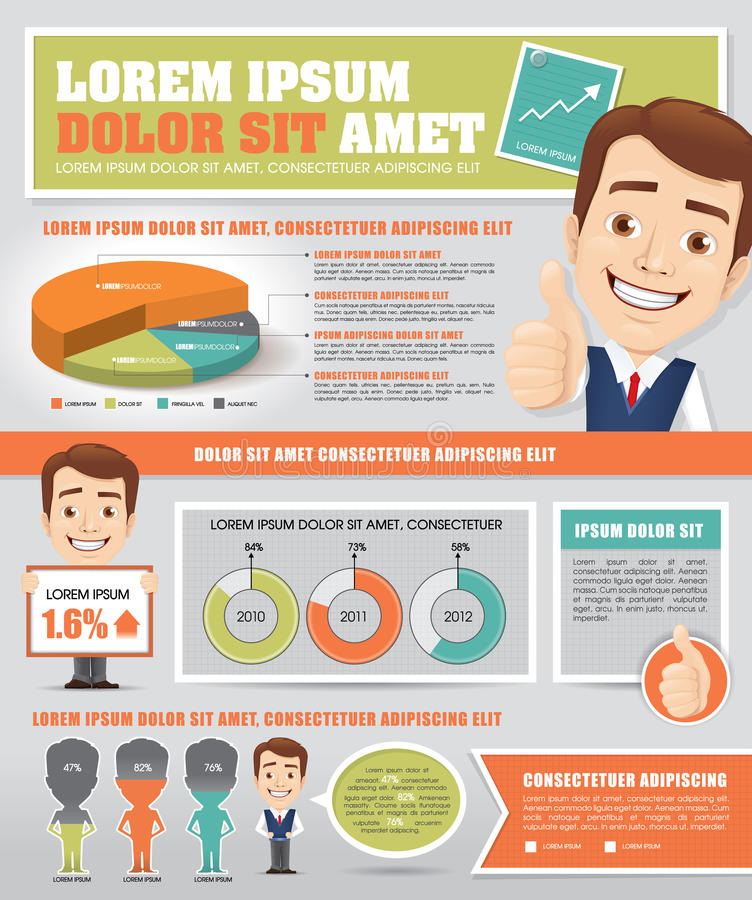 Infographics mit Geschäftsmännern stock abbildung