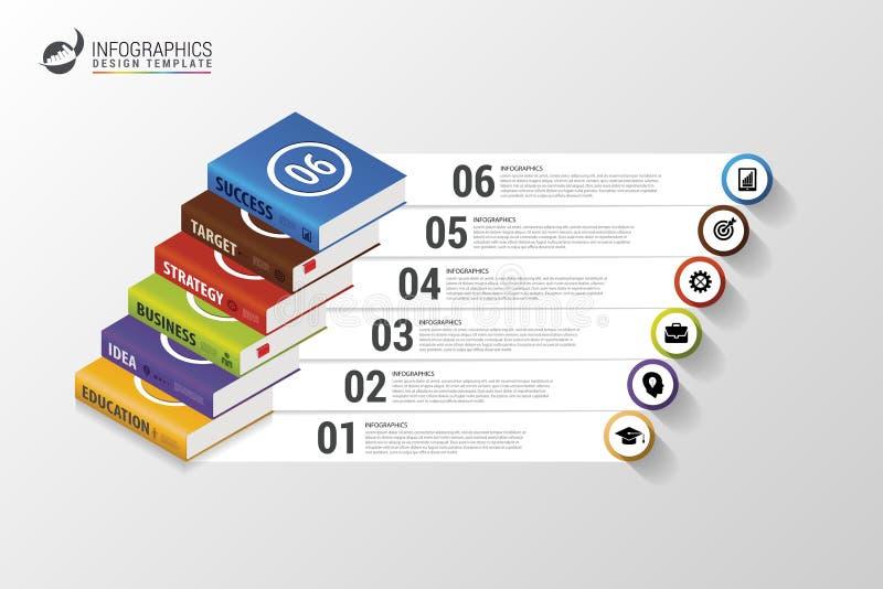 Infographics Modern ontwerpmalplaatje met boeken Vector vector illustratie