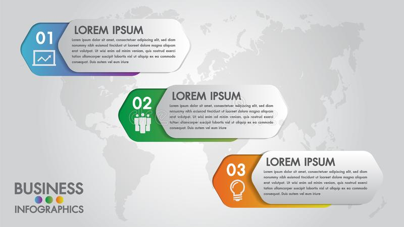 Infographics modern template for business with 3 steps, icons for 3 options.Can be used for workflow layout, diagram, website. royalty free illustration