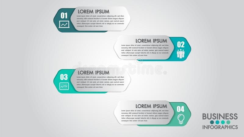 Infographics modern template for business with 4 steps, icons for 4 options.Can be used for workflow layout, diagram, website, cor. Porate report.Vector 3d vector illustration