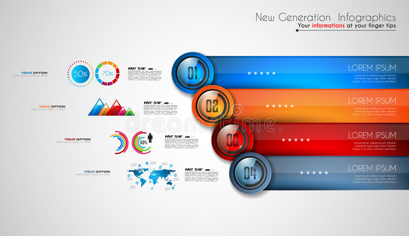 Infographics modern template to classify data and information. With an original touch. Sketches, Glass effect elements, icons, reflections and shadows are made vector illustration