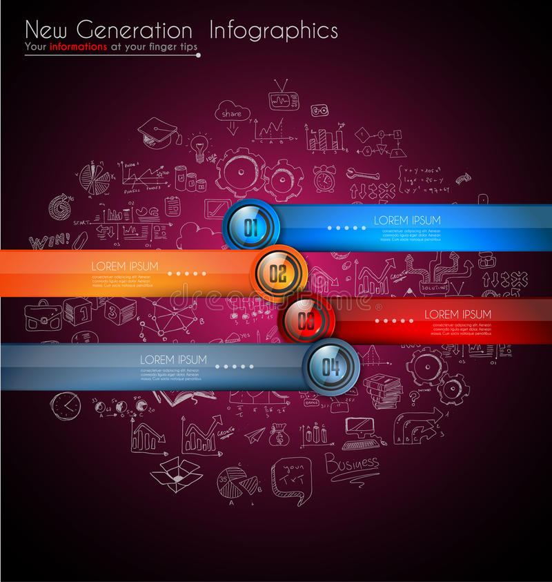 Infographics modern template to classify data and information. With an original touch. Sketches, Glass effect elements, icons, reflections and shadows are made stock illustration
