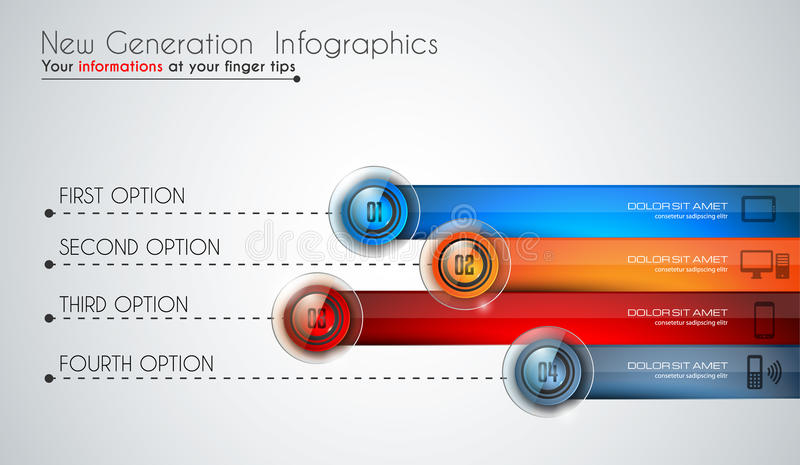 Infographics modern template to classify data and information. With an original touch. Sketches, Glass effect elements, icons, reflections and shadows are made royalty free illustration