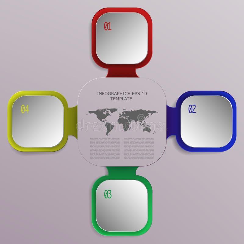 Infographics moderne d'affaires de quatre étapes avec les places 3D et le worl illustration stock