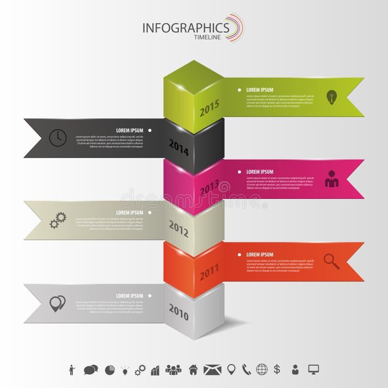 Infographics moderne Vecteur de calibre de chronologie illustration libre de droits