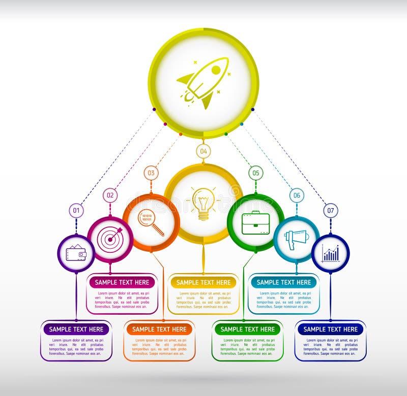 Infographics moderno abstracto del negocio del estilo Siete pasos al succ libre illustration