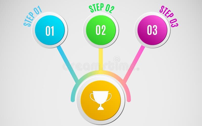 Infographics moderno 4 círculos de papel Estratégia empresarial e o trajeto ao sucesso Ilustração do vetor O diagrama está em um  ilustração do vetor