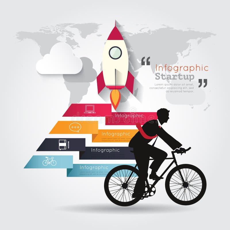 Infographics moderno con la bicicleta del paseo del hombre de negocios ilustración del vector