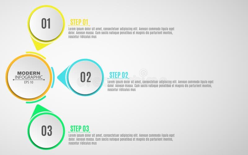 Infographics moderno del negocio Un diagrama en un fondo blanco para sus proyectos Muestras y banderas multicoloras Pasos, la tra libre illustration