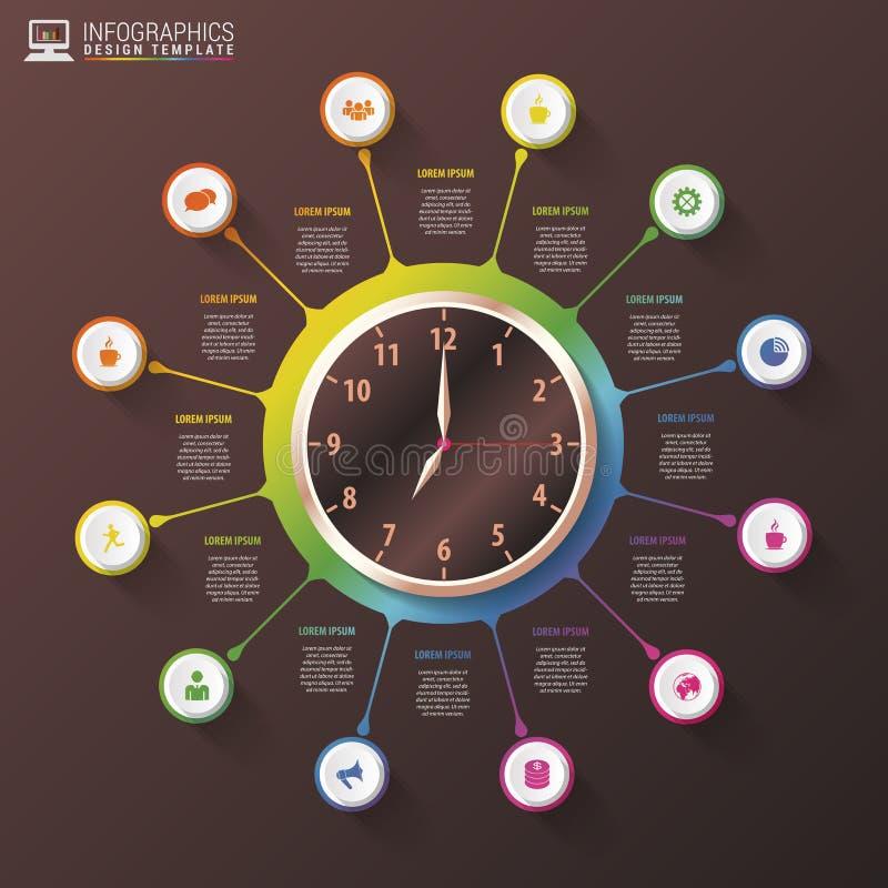 Infographics moderno di gestione previsionale di tempo di lavoro Modello di lusso di progettazione Illustrazione di vettore royalty illustrazione gratis