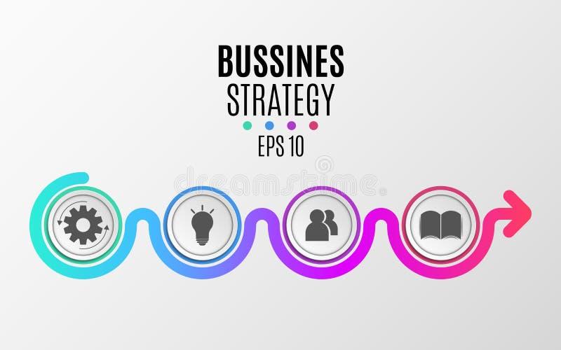 Infographics moderno Estrategia empresarial Diagrama abstracto en un estilo plano de los círculos y de las líneas realistas de pa stock de ilustración
