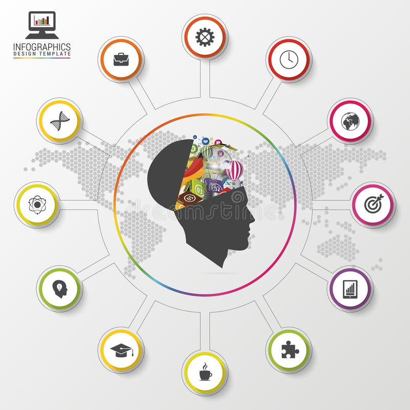 Infographics moderno Mente creativa Molde colorido do projeto Ilustração do vetor ilustração do vetor