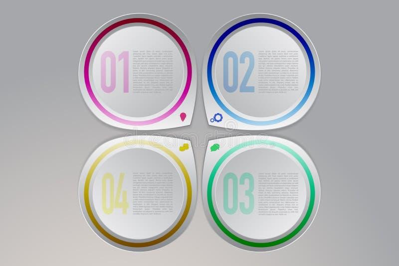 Infographics moderno variopinto di cronologia di quattro punti illustrazione vettoriale