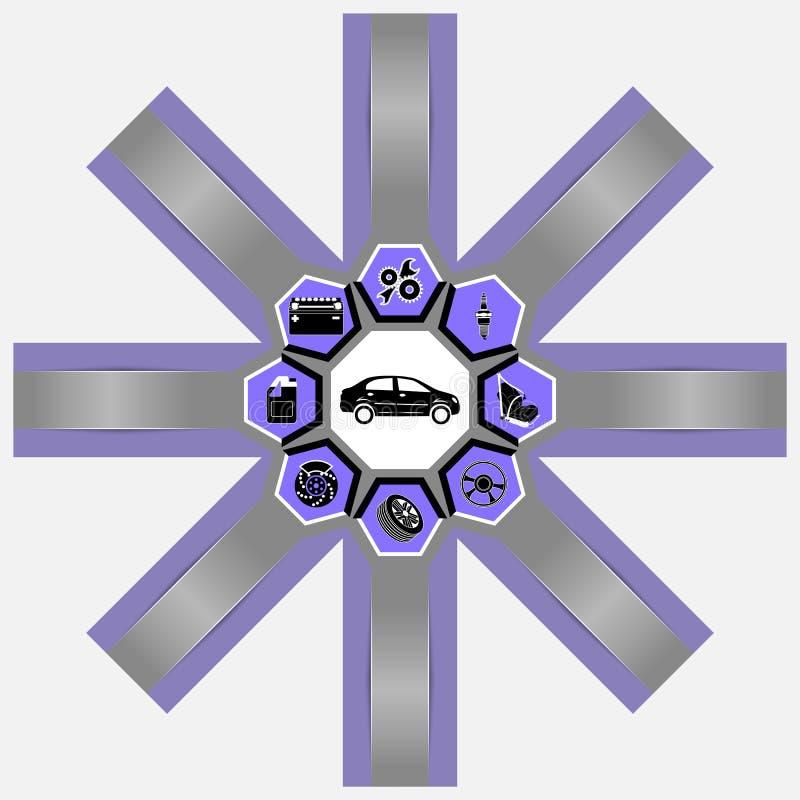 Infographics obwodu szablon ikona samochód, dodatkowe części z przestrzenią dla teksta odizolowywającego na bielu i ilustracji