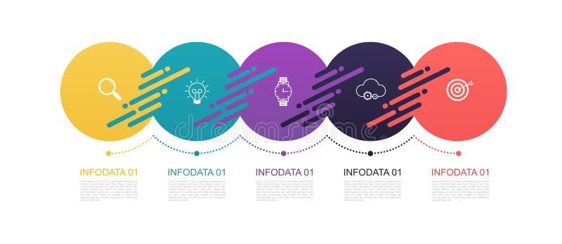 Infographics omcirkelt patroonontwerp met 5 stapstructuur Malplaatjediagrammen, pesentation en grafiek, cirkeldiagramlijnen, zake royalty-vrije illustratie