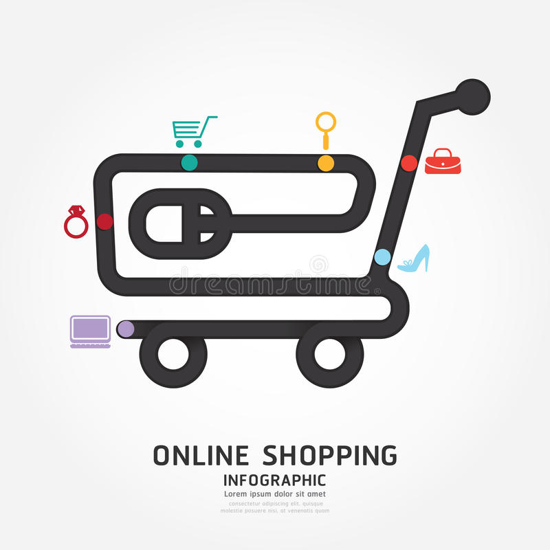 Infographics online shopping design diagram line style. Infographics online shopping design diagram line style template royalty free illustration