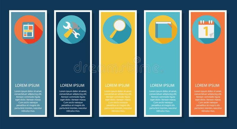 INFOGRAPHICS ontwerp vlakke elementen met lang royalty-vrije illustratie