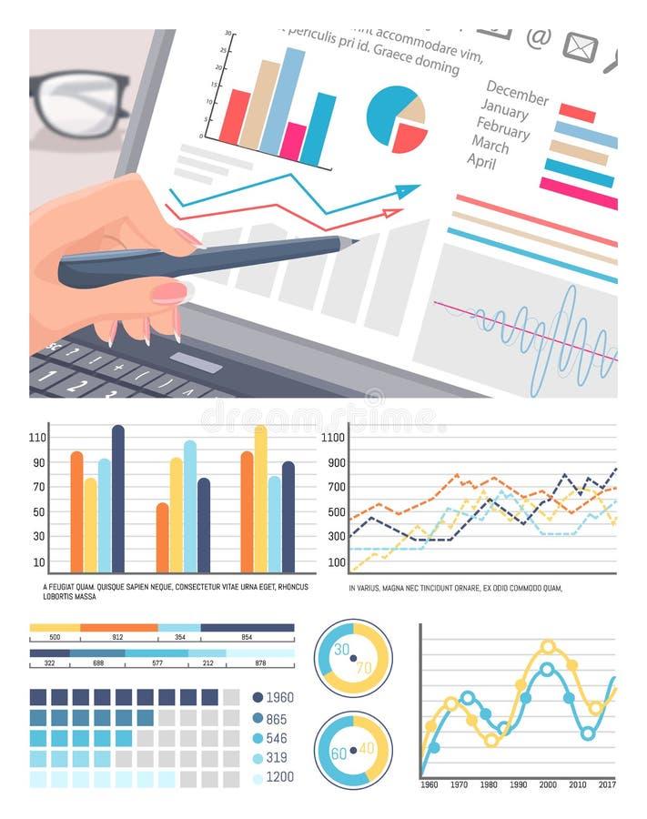 Infographics op Laptop het Scherm, Analyse van Gegevens royalty-vrije illustratie