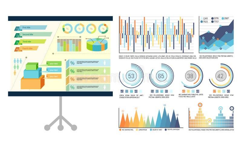 Infographics op Presentatieraad, Whiteboard royalty-vrije illustratie