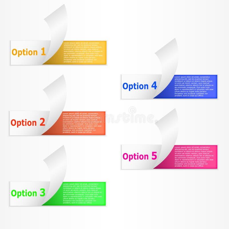 Infographics 5 opciones encrespó las banderas de papel de la raya del colorfull ilustración del vector