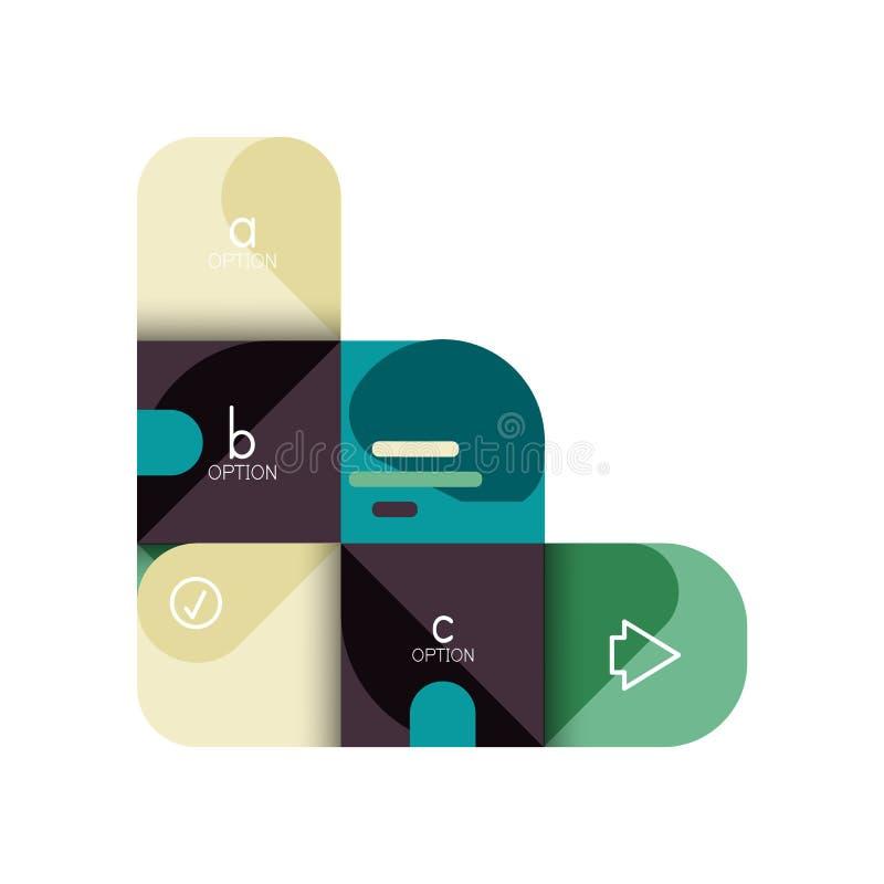 Infographics opcja i krok po kroku w zaokrąglonych kwadratach, element mapa, wykres, diagram z opcjami, części, procesy royalty ilustracja