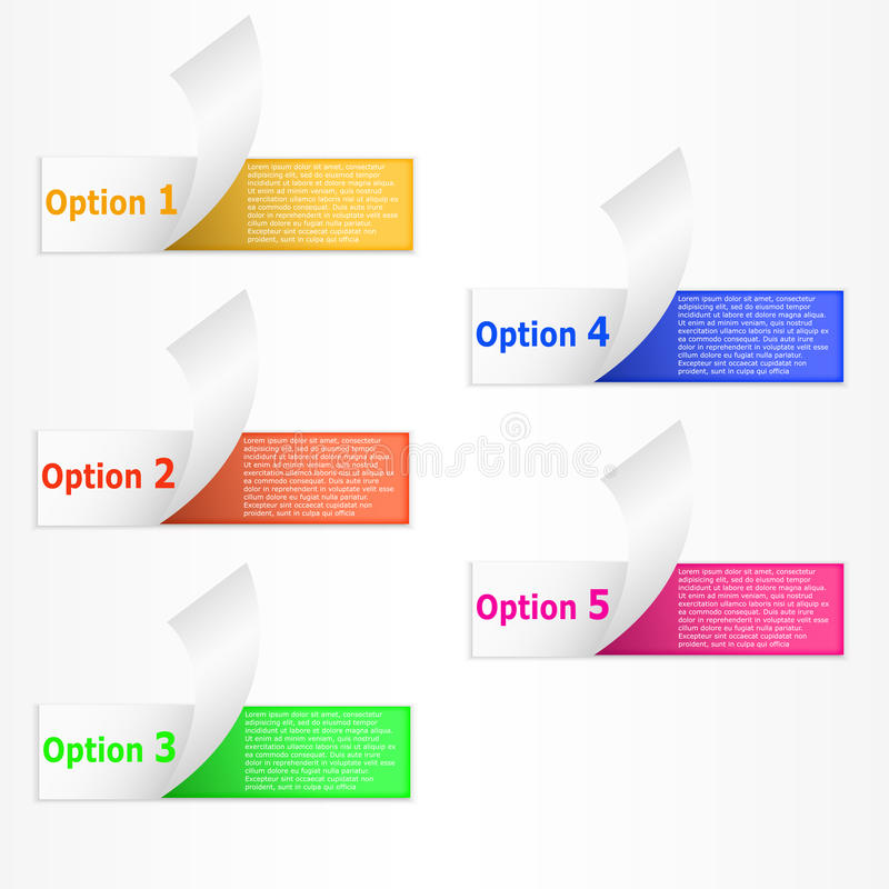 Infographics 5 opties gekrulde colorfull document streepbanners vector illustratie