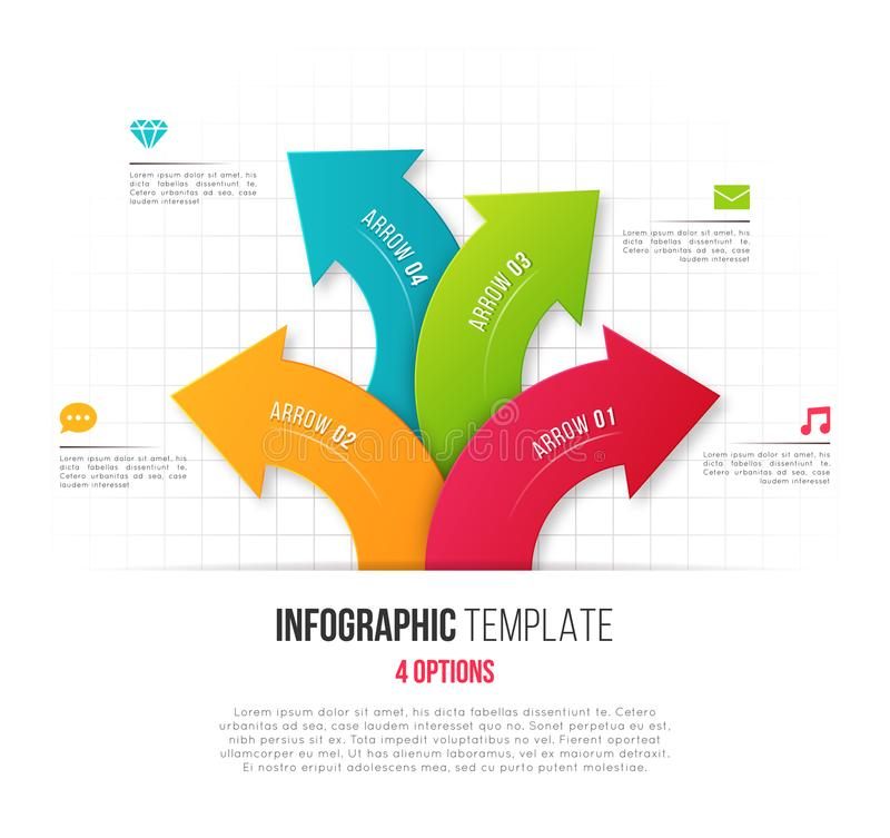 Infographics with 4 option branching circular arrows. Vector tem vector illustration