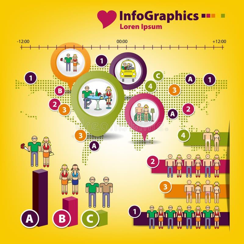 Infographics på ämnet av män och kvinnor vektor illustrationer